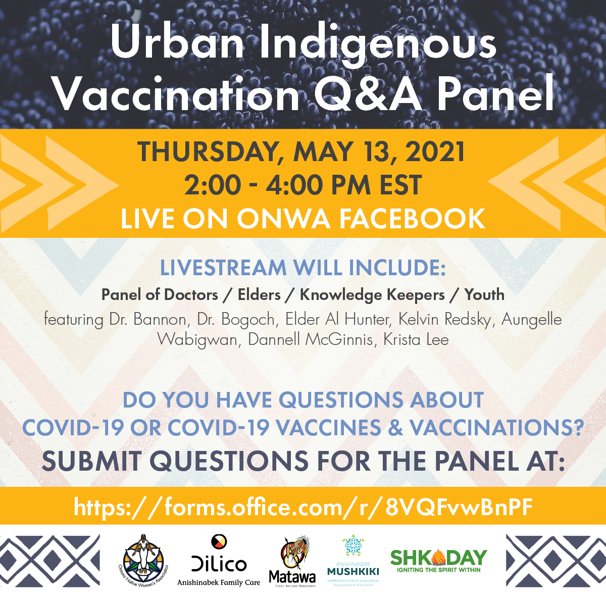 ONWA in partnership with Dilico, Anishnawbe Mushkiki, Shkoday and Matawa will be hosting a live Question and Answer event to address vaccine hesitancy and encourage vaccinations. Community members can submit questions that they have here: https://forms.office.com/r/8VQFvwBnPF The event will be live-streamed on ONWA's Facebook: www.facebook.com/ONWA7